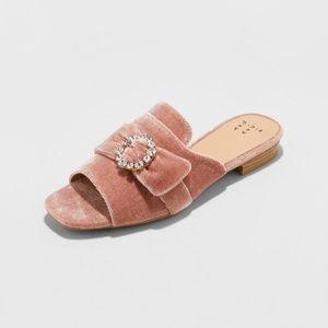 3e33acd2c60e A New Day Shoes - A New Day Blush Dina Velvet Slide Sandals New